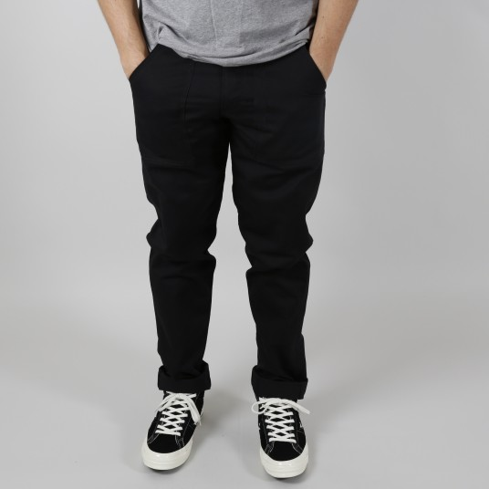 SLIM FIT 4 POCKET FATIGUE BLACK TWILL